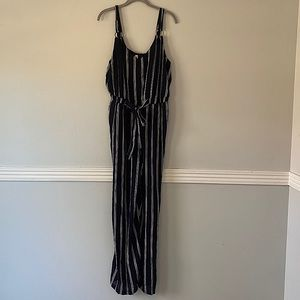 Shoreline Striped Jumpsuit with Tie on Front